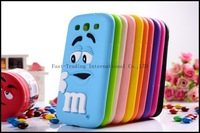 Colorful Cute M & M Chocolate Candy Color Rainbow Bean Designer Silicone Case for Samsung Galaxy S3 I9300 Galaxy SIII