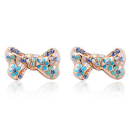 ROXI Christmas Gift Exquisite Bowknot Stud Earrings with Genuine Austrian Crystal Rose Gold Plated Fashion Earrings for Women