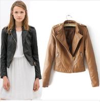 2014 new arrival autumn women Leather jacket  PU motorcycle jackets epaulet ladies outwear coats l1267