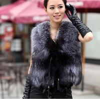 2014 Fall And Winter  Women Genuine Fox Fur Vest Leather Vest Outerwear Plus Size Women Coat Free Shipping