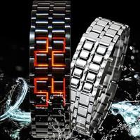 2014 New Item Gift Fashion Lava Iron Samurai Metal LED Faceless Bracelet Watch Wristwatch Stainless Steel Novelty