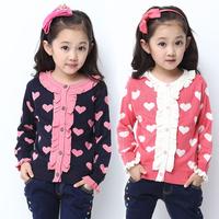 Children's clothing female child spring and autumn female child sweater 2014 child cardigan sweater female big boy basic shirt