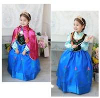 Free shipping cheap Kids Girls Dresses Elsa Frozen dress costume Princess Anna party dresses