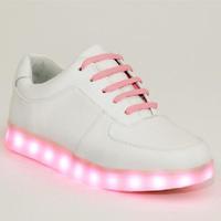 2014 New Women Genuine Leather Casual Light Hip Hop Shoes Cowhide Platform Neon Sneakers Female Sapatos Femininos Sapatilha 1615