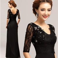 Fashionable Black Sexy V-neck Long evening dress Prom dresses Vestido de festa longo  evening dresses long party dress E56