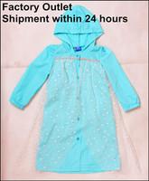 Newest Frozen High Quality Snow Printing Umbrella Cloth Soft Comfortable Raincoat Rainwear Rainsuit Waterproof For Kids Girls