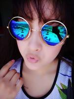 2014 xianxiongtaocheng cutout glasses fashion reflective sunglasses love sunglasses female star style
