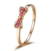 Original design 925 pure silver ruby ring 18k rose gold multicolour gem women's ring exquisite bow