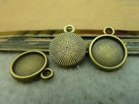 50pcs 16*13mm-10mm Antique bronze Cameo Cabochon Base Setting Charm Pendant Alloy DIY jewelry accessories Free shipping C3597