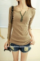 Lady's Fashion Spring New Arrival All Match Full Regular Sleeve V-Neck Patchwork Slim Tees Shirts Free Shipping A501-2-2097#