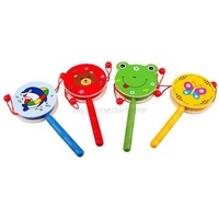 Baby Kids Toys Musical Toy Rattle Wooden Developmental Toy Gift Hand Drum Funny