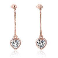 ROXI Brand Rose Gold Plated Luxury Heart Large Zicron Long Dangle Earrings Genuine Austrian Crystal Drop Earrings for Women