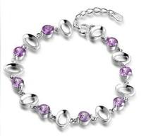 AAA 100% Sterling Silver 925 Bracelets & Bangles Fashion Amethyst Bracelet Female Bracelet Free Shipping