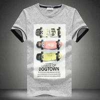 Summer o-neck print short-sleeve T-shirt male plus size plus size basic shirt short-sleeve slim men's clothing