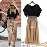 2014 summer elegant short-sleeve women's one-piece dress fashion mm plus size chiffon long dress women summer casual dress