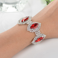 New 2014 crystal bracelets fashionable plated silver ,red and blue color 3 spindle-shaped rhinestone bracelet gemstone jewelry