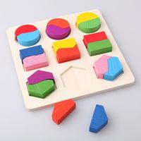 Kids Wooden Jigsaw Geometry Puzzle Pre-school Figure Jigsaw Gift Educational Toy