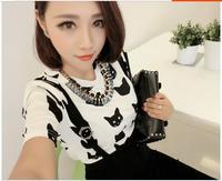 Women's Cute Short Sleeve O-Neck Cartoon Cats Chiffon Blouse Free Shipping A603B-1-9504