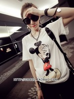 Lady's Fashion Casual 2014 Summer Short Regular Sleeve O-Neck Mouse Character Print Tees Shirts Free Shipping A501-3-1137