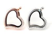 Wholesale -heart magnetic glass floating charm locket Zinc Alloy Pendants