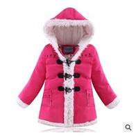 2014 Winter New Children Down & Parkas Girls High Quality Down Outerwear Coat Horn button Print children girls parkas 4 Colors