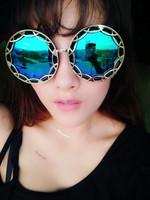 Vintage big 2014 female sunglasses male sunglasses big box circle sunglasses prince's reflective mirror