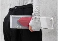 Original mini transparent plexiglass acrylic magnet clasp clutch rectangular crystal box clutch bag 50% off
