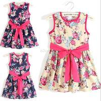 Toddlers Girls Kids Party Sleeveless Tutu Princess Floral Pattern Bow Dress Free Shipping