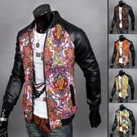 5 Color 2014 Winter Top Brand Printed Leather Suit Manta Fashion Men Jacket Floral Korean Man Jackets Mens Slim Coat AX610 M-2XL
