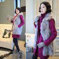 New ladies fashion charming imitation faux women female sleeveless winter warm fox fur vest lapel vest and long sections