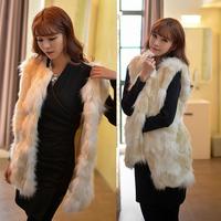 Winter Jacket Women's Long Style Faux Fur Vest Jacket Winter Warm Fur Outerwear Fashion Fur Waistcoat Free Shipping