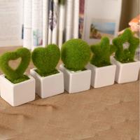 (2 pieces/lot) Artificial flower plush green plants decorative potted ceramic vase set home decorations