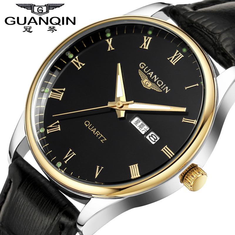 Crown piano men quartz watch waterproof watch really belt male table luminous double calendar watches men genuine business(China (Mainland))