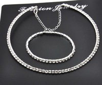 Wholesale white gold plated crystal fashion necklace bracelet wedding jewelry sets for women  1E137