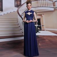New Blue Backless Sweet Sexy Long Chiffon Prom Dress Women Gorgeous Crystal Formal Dress Long Evening Dresses Free Shipping