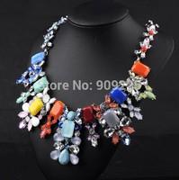 Luxury Designed Glass Rhinestone Big Statement Shourouk Necklace. Wholesale Multi Color Fashion Costume Jewelry Match-All Dress