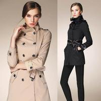 2014 Autumn&Winter Ladies' Designer Stand Collar Slim Trench Coat Women's Cotton Coat Outwear LCW11002