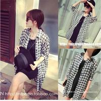 Breathable black-and-white plaid chiffon batwing sleeve long shirt design sun protection shirt