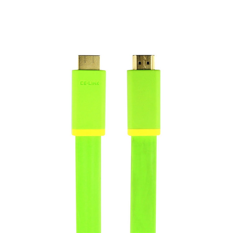 2 PCS/Lot Flat HDMI Cable Signal transmission cable Version 1.4 Support 3D/1080P 2M Green No.2195(China (Mainland))
