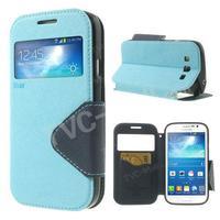Sky Blue Roar Korea Diary View Window Leather Flip Cover Case For Samsung Galaxy Grand Neo I9062 I9060 I9082 I9080 Free Shipping