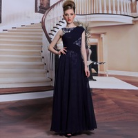 New Blue Lace Long Chiffon Prom Dress Women Gorgeous Shoulder Pleat Formal Dress Long Evening Dresses Free Shipping