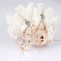 Min.order is $15 (mix order)  18K Rose Gold Plated Leaf Design Metal Pieces With Heart Hollow Out  Earring YJ07829DE