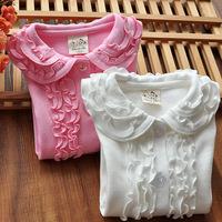 Autumn 2014 new children's clothing baby girls long-sleeved cotton shirt shirt tops double wood ear