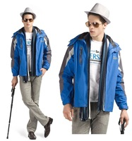 M-2XL New 2014 Men's Winter Outdoor  Waterproof  Wind Protect Trench Coat With Hood 6660b , Free Shipping