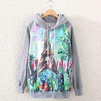 2014 Autumn Winter Fashion Women Long Sleeve Eiffel Tower Print Sweatshirt Jumper Casual Hooded Pullovers Hoodies Tops ST01A55