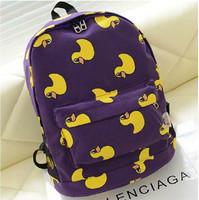 Cartoon duck pattern rucksack  Backpack  Cartoon cute female student bags free shipping