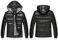 M-2XL New 2014 Men's Fashion Fleece Plus Thick Warm PU Leather Hooded Winter Black Down Jacket 7799b , Free Shipping