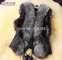 2014 Hot Selling short design female faux fox fur vest leather vest outerwear plus size faux fur vest women coat