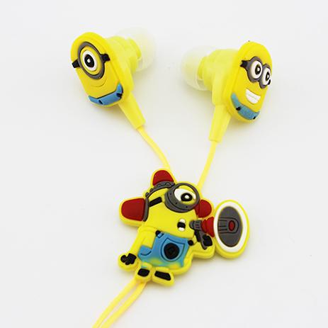 Retail Lovely Cartoon Red Light Minions Earphone 3.5mm Jack Sport Headphone Headset Ear Hook Drop shipping + free shipping(China (Mainland))