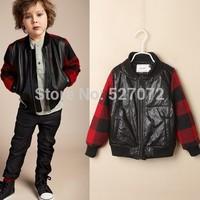 High end!2015 spring brand boy's jacket,new European design boy faux leather coat ,designer outwear for kids.